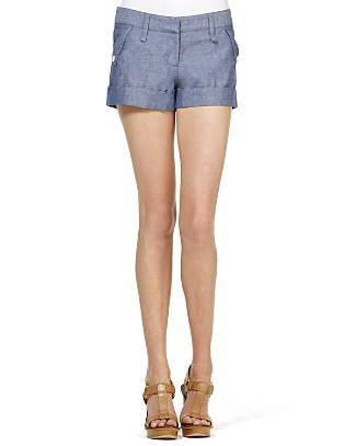 Aqua chambray shorts