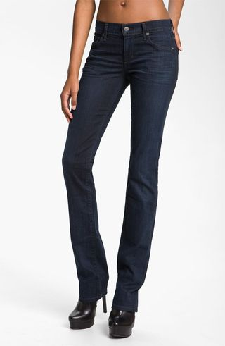 Dark-wash-straight-leg-jeans