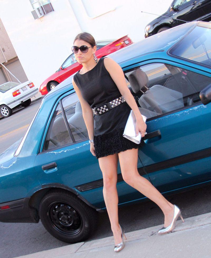 Black-dress-blue-car